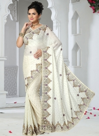 Off White Satin Chiffon Bridal Saree