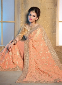 Peach Bamberg Bridal Saree