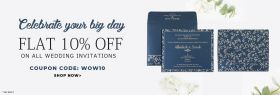 Flat 10% Off on wedding invitations