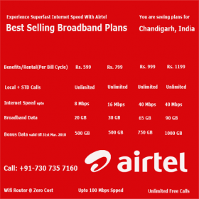 Airtel Broadband Services in Chandigarh