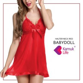 Halter Neck Red Baby Doll Nightwear From KamukLife