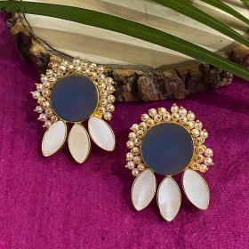 Raya Druzy Earrings White Stone & Pearl Cluster