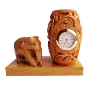 Wooden Elephant With Pen Holder Watch