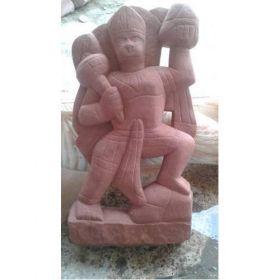 Red Stone Hanuman Ji Statue