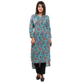 Blue Printed Cotton Front Back Up Down Kurta