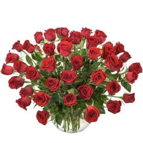 Arrangement of 50 Red Roses in a Glass Fishbowl