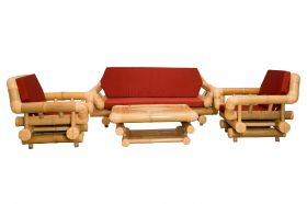 Bamboo Sofa Set Natural 3+1+1
