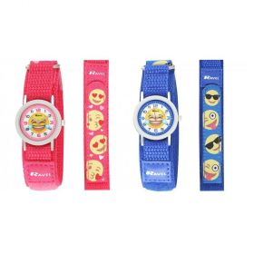 Ravel Unisex Velcro Emoji Watch Blue/Pink R1507