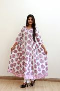 White and Pink Hand Block Mughal Print Kurta