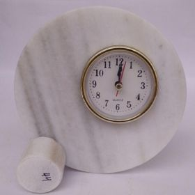 White Makrana Marble Table Clocks