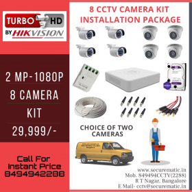 8 CCTV Camera Kit Installation - 2 MP - 1080P