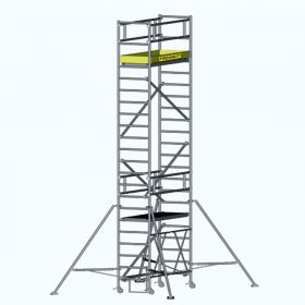 ALUMINUM SCAFFOLDING TOWER WITH FOLDING FRAME