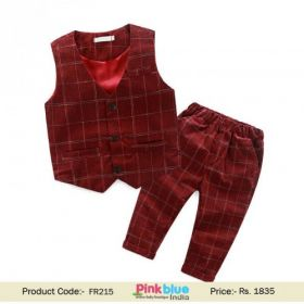 Baby Boys Tartan Waistcoat & Pant Outfit