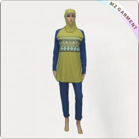 Blue Long Sleeve Muslim Swimwear with Yellow Print