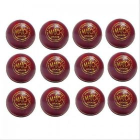 Aj Match Cricket Ball Set Of 12 Ball Red