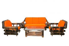 Bamboo Sofa Set Natural Black 3+1+1
