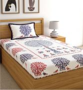 Screen Print White Cotton Floral Single Bed Sheet