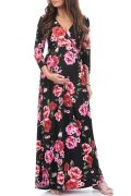 Faux Wrap Ruched Maternity Photo Dress | Floral an