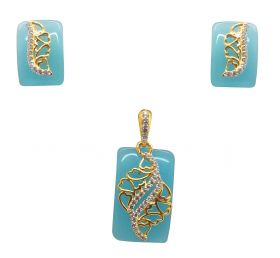 Water Blue Stone 18k Pendant Set