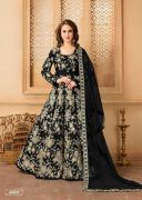 Black Color Heavy Embroidery Taffeta Silk Floor Le