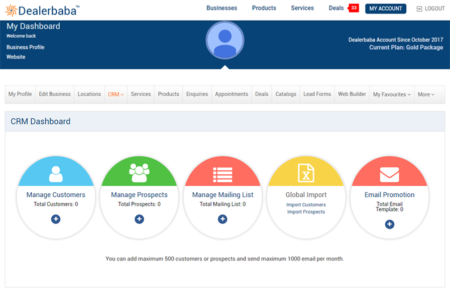 CRM Functionality Dealerbaba