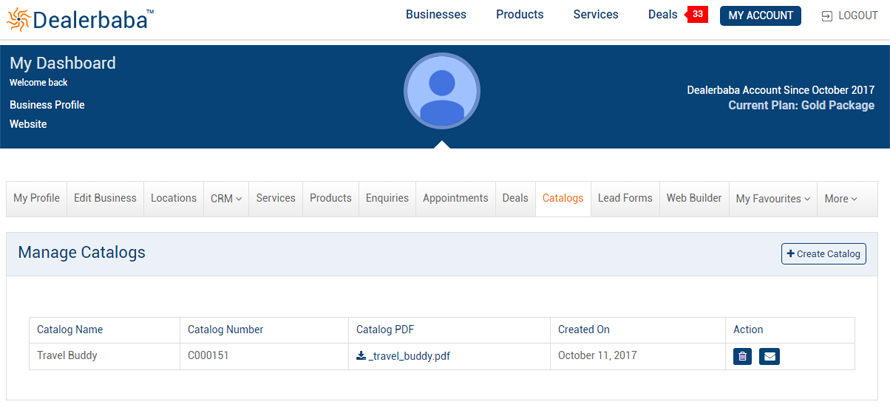 Manage Catalogs Dealerbaba