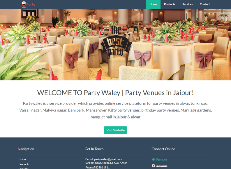 Few Of Websites Developed By Using Our Website Builder Partywaley